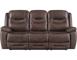 Klaussner Turismo Series Power Reclining Fabric Sofa with Drop Down Table in Chocolate
