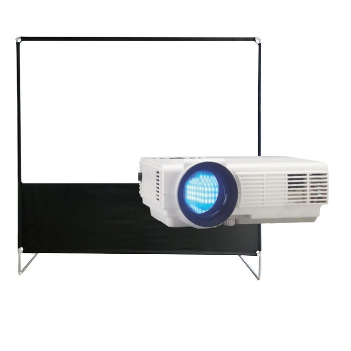 RCA Home Theatre Bluetooth Projector LED + Projector Screen in White