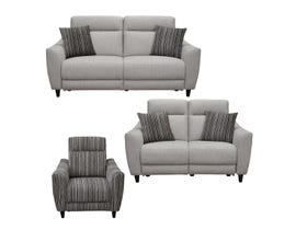Vogue Ava Series 3pc Power Reclining Sofa Set in Grey PX2216