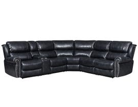 Vogue Series Leather Air Power Reclining Sectional in Navy PX2508
