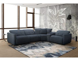 Moxie Series 5pc Reclining Fabric Sectional with Three Recliner & Entertainment Wedge in Dark Grey PX2999