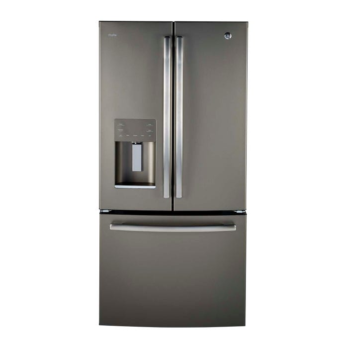 GE Profile 33 inch 17.5 cu.ft. French door counter-depth refrigerator in stainless steel PYE18HMLKES