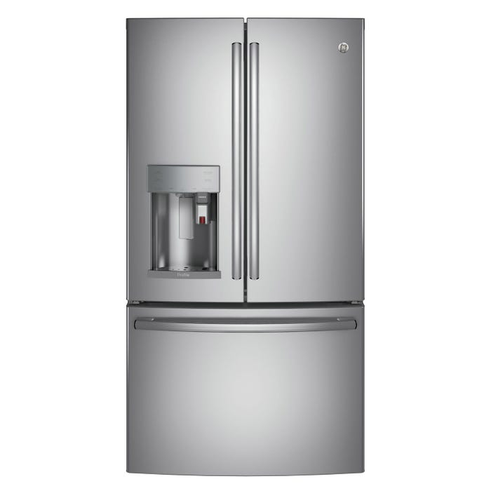 GE Profile 36 inch 22.1 cu.ft.  Counter Depth Bottom Mount French Door Refrigerator with K-Cup Brewing System in stainless steel PYE22PSKSS