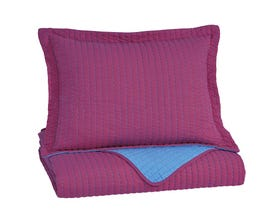 Signature Design by Ashley 2-Piece Twin Coverlet Set in Magenta/Aqua Q225031T