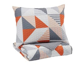 Signature Design by Ashley 2-Piece Twin Coverlet Set in Gray/Orange Q408001T