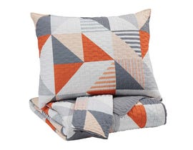 Signature Design by Ashley 3-Piece Full Coverlet Set in Gray/Orange Q408003F