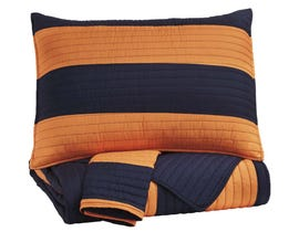 Signature Design by Ashley 3-Piece Full Coverlet Set in Navy/Orange Q419003F