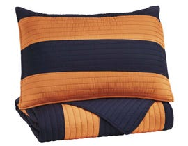 Signature Design by Ashley 2-Piece Twin Coverlet Set in Navy/Orange Q419001T