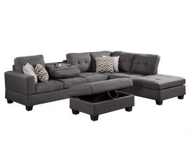 Prestige 2 Piece Reversible Sectional with Storage Ottoman in Grey R87814