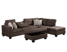 Prestige 2 Piece Reversible Sectional with Storage Ottoman in brown R87814