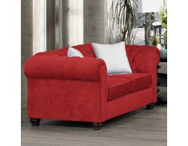 SBF Upholstery Fabric Loveseat in Red 2525
