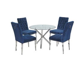 K-Living Norman 5pc Set Round Glass and Chrome Base Dining Table with Tufted Velvet Chair in Blue REG811-BL