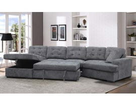 Primo Renita Series Fabric Media Sleeper Sectional in Charcoal U698102