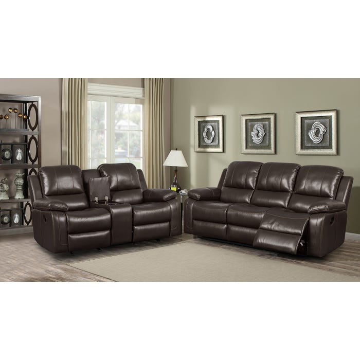 Kwality Furniture Alice Collection 3 Piece Leather Air Reclining Sofa Set  in Chocolate K-550
