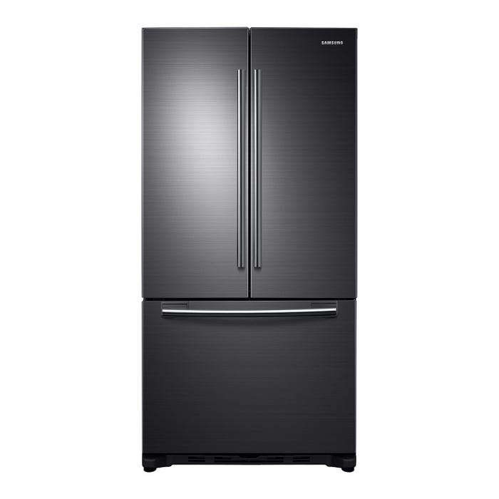 Samsung 33 inch 17.5 cu. ft. French Door Refrigerator with Twin Cooling Plus in black stainless steel RF18HFENBSG