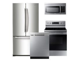 Samsung 3pc Appliance Package in Stainless Steel RF18HFENBSR NE59M4320SS DW80N3030US