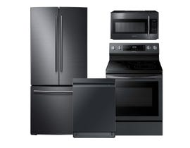 Samsung 3pc Appliance Package in Black Stainless Steel RF220NCTASG NE59R6631SG DW80R9950UG