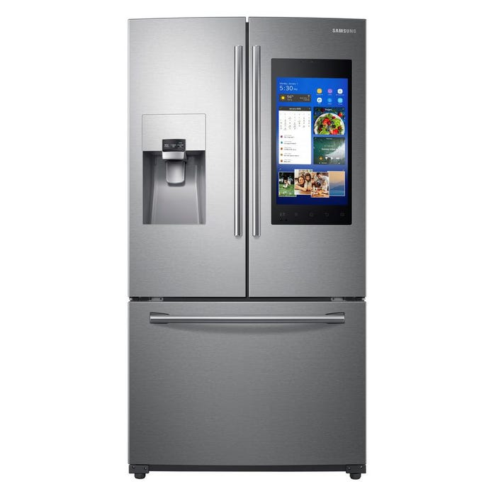 Samsung 36 inch 24 cu. ft. 3 -Door French Door Refrigerator with Family Hub in stainless steel RF265BEAESR