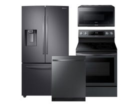 Samsung 3pc Appliance Package in Black Stainless Steel RF28R6201SG NE59R6631SG DW80R5061UG