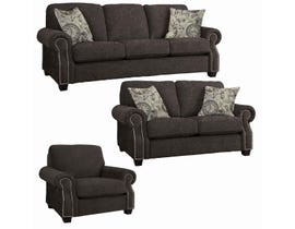 Decor-Rest Rico Collection 3Pc Fabric Sofa Set in Rick Pewter/Clocks Taupe 2279
