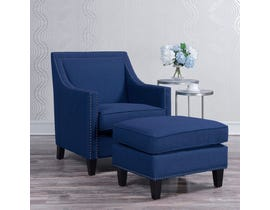 High Society Erica Series Solid-colour Chair w/Ottoman in Blue 130982