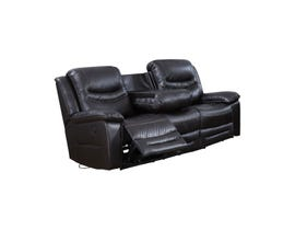 Brassex Nelson Leather Look Power Reclining Sofa in Black SA2400