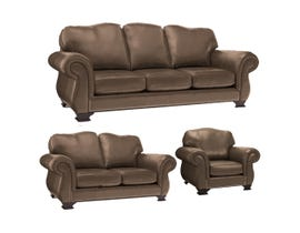 Decor-Rest 3pc Leather Sofa Set in Saddle Whiskey 3933