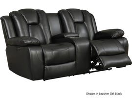 High Society Salem Collection Leather Gel Power Reclining Loveseat in Black USL