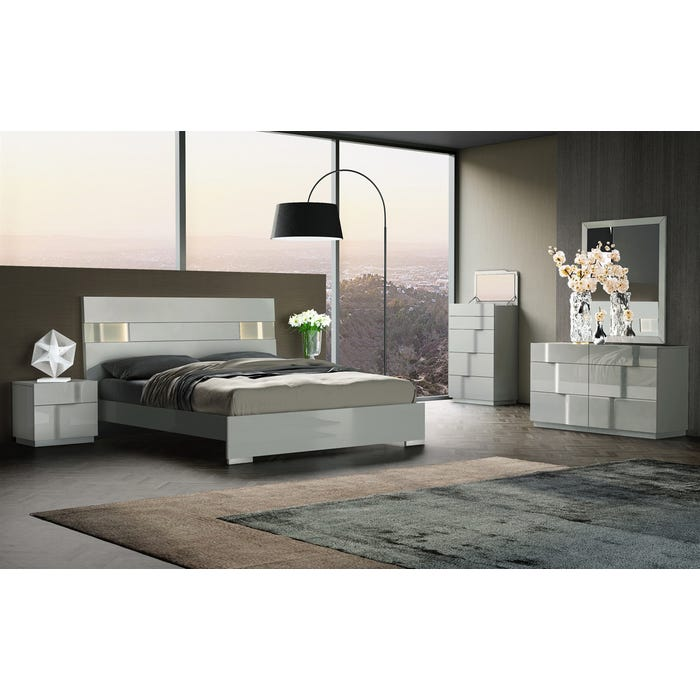 Prime Kwality Furniture Latina Collection 6 Piece Queen Bedroom Set In Grey Laquer Sb185 Home Interior And Landscaping Mentranervesignezvosmurscom