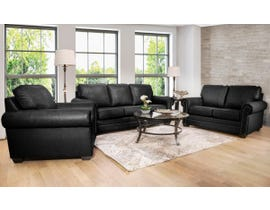 SBF Upholstery 3pc Leather Sofa Set in Black 7557