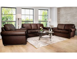 SBF Upholstery 3pc Leather Sofa Set in Brown 7557