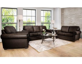 SBF Upholstery 3pc Leather Sofa Set in Chocolate 7557