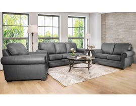 SBF Upholstery 3pc Leather Sofa Set in Grey 7557