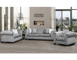 SBF Upholstery Mia 3pc Fabric Sofa Set in Platinum/TP Platinum 2525