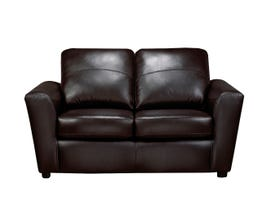 SBF Upholstery Emma Collection Leather Loveseat in Zurick Black 4411-2