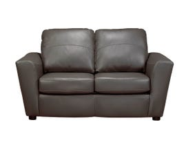 Sofa By Fancy Emma Collection Flared ams Zurick leather loveseat in Grey Finish 4411-2