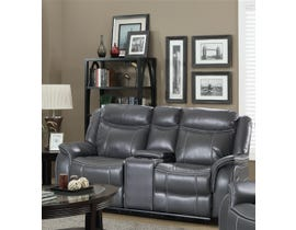 Amalfi Home Furniture Leather Gel Loveseat in Grey JR03