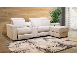 Flair Elmont Series 2pc Power Reclining Sectional w/ Headrest and Console in Flex Stone White