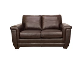 SBF Upholstery Zurick Collection Leather Loveseat in Cranberry Brown 4395