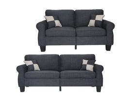 Primo International Axel Collection 2 Piece Fabric Sofa Set in Slate N3448