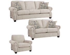 Decor-Rest Rico Collection 3Pc Fabric Sofa Set in Sharper Sand/Delhi Sand 2279