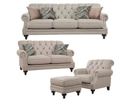 Décor-Rest Fabric 3Pc Sofa Set in Shaper Sand/Thunder Ivory 2133