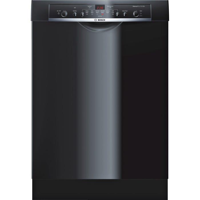 Bosch Ascenta 24 Inch Recessed Handle Dishwasher in Black SHE3AR76UC