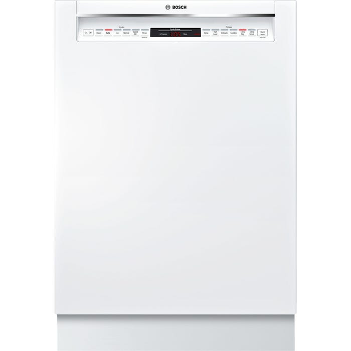 Bosch 24 Inch Recessed Handle Dishwasher in White SHE878WD2N