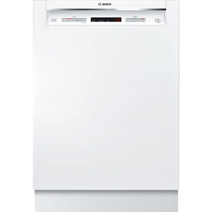 Bosch 24 Inch Recessed Handle Dishwasher in White SHEM63W52N