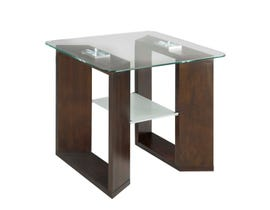 Brassex Savannah Collection Glass End Table in Dark Cherry SIC2095