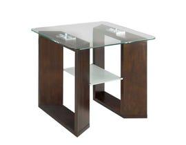 Brassex Savannah Collection Glass End Table in Dark Cherry SIC2095