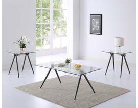 Brassex Rosario Collection 3-Piece Glass Coffee Table Set in Espresso SIC2098