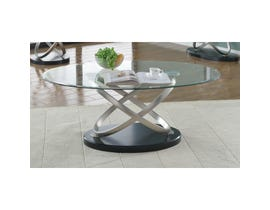 Brassex Chantal glass coffee table with metal legs and black base SIC275C-BLK