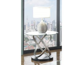 Brassex Chantal glass top End Table with metal legs Black base SIC275E-BLK